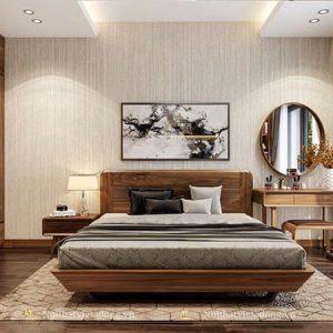 Giường ngủ gỗ óc chó chân vát hiện đại GN-29
