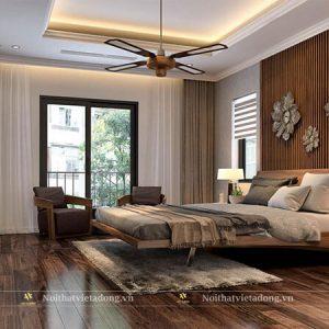 Giường ngủ gỗ óc chó chân sắt sang trọng GN-31