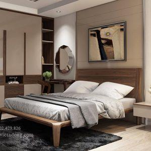 Giường ngủ kiểu mới gỗ óc chó gầm cao GN-03 Soi chỉ đầu giường