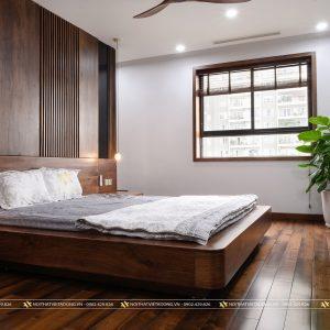 Giường gỗ óc chó kiểu dáng khối hộp độc đáo GN-36